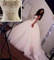 online shopping Ball Gown Wedding Dress - Gorgeous Crystal Wedding Dresses Beach Bridal Gowns 2016 Ball Gown Sweetheart Lace-Up Back Beaded Ivory Wedding Dresses Bridal Gowns Arabic