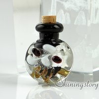 Wholesale Empty Glass Necklace Vials - small glass bottles for pendant necklaces empty vial necklaceminiature glass jars