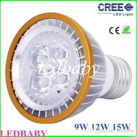 Wholesale Led 12w Rgb E14 - 2016 LED Bulbs PAR20 Cree led light 9W 12W 15W Spotlight E27 White Warm White Indoor Lighting 110V-240V Free DHL FEDEX shipping