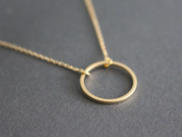 Wholesale Wholesale Karma Jewelry - 10PCS- N020 Simple Dainty Circle Necklace Open Circle Outline Necklace eternity karma circle round necklace jewelry