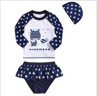 Wholesale Sleeve Swimsuit Baby - 2016 Baby Girls Summer Swimwear Kids Stars Printed Cartoon Swimsuit Baby Long Sleeve T-shirt Tops+Tutu Skirt +Hat 3pcs set Girl Swim Clothes