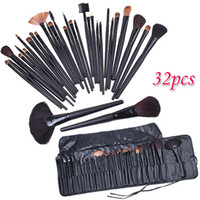 Wholesale Cases Brushes - 32 PCS Cosmetic Facial Make up Brush Kit Professional Wool Makeup Brushes Tools Set with Black Leather Case TOP Quality!