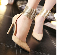 11CM Beige Black Cheville Strap Zipper Back Pointed Pumps Sexy Chaussures Talons hauts Robe Robe Chaussures taille 35 à 40