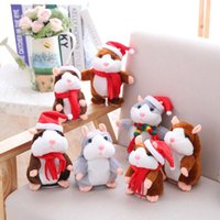Wholesale pet talking hamster - Chat Back Toys Christmas Talking Hamster Mouse Pet Plush Toy Cute Speak Talking Sound Record Hamster Educational Toy CCA8156 50pcs