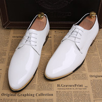 Wholesale Korean Shoes For Male - Korean Man Leather Shoes Patent Leather Fashion Single Shoes For Men Simple Joker Male Flats Shoes Pointed Toe Dress Shoes Mens H643
