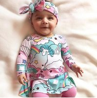 Wholesale Color Paradise - INS Toddler Cartoon Dress Spring 2018 horses rainbow sky paradise Princess Dress + Bow Headband 2pcs Sets Infant Outfits C2681