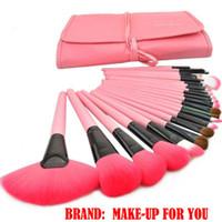 pincel de maquillaje rosa 24 piezas al por mayor-¡Envío gratis! Juego de pinceles de maquillaje profesional de 24 piezas, herramientas de pinceles de maquillaje, juego de pinceles de maquillaje de marca con estuche de cuero - Rosa