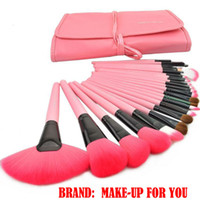 24 make-up pinsel set rosa großhandel-Kostenloser Versand! Professionelles 24-tlg. Make-up-Pinsel-Set, Make-up-Pinsel-Werkzeug, Marken-Make-up-Pinsel-Set mit Ledertasche - Pink