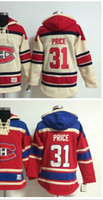 Wholesale Canadian Ice - 2016 New, #31 Price Men's Montreal canadians Hockey NHL Ice Hockey Fleece Hoodie Sweatshirt All Stitched Embroidery
