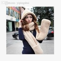 Wholesale Thick Plush Scarf - Wholesale-South Korean female winter hat plush thick warm cashmere hooded scarves hats gloves one hat free shipping