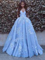 off ombro bebê vestidos de festa venda por atacado-Lindo azul bebê vestidos de baile com apliques de renda fora do ombro até o chão elegante vestidos de festa formal PD1123