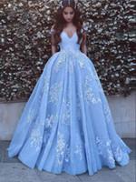schöne spitze formale kleider großhandel-Schöne Baby Blue Ballkleider Mit Spitze Applikationen Weg Von Der Schulter Bodenlangen Elegante Formale Party Kleider PD1123