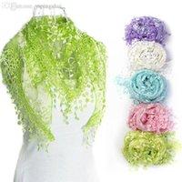 Wholesale Triangle Shaped Scarves - Wholesale-2015 Autumn Winter Lace Tassel Sheer Burntout Silk Floral Design Triangle Shape Mantilla Scarf Wrap Shawl