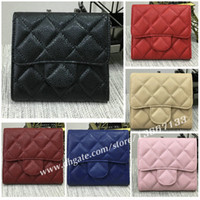 Wholesale Wallets Three Zippers - 2018 Fashion Design Short Wallet Genuine Leather Lambskin Three Fold Wallets Card Holder Coin Pouch With Box good price