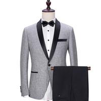 düğün için gri pantolon toptan satış-Gri Düğün Damat Smokin 2018 Siyah Şal Yaka Trim Fit Erkek Takım Elbise Özel Made İş Parti Groomsmen Suit (Ceket + Pantolon)