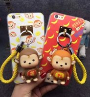 tampas do telefone do macaco venda por atacado-50 pcs encantador dos desenhos animados dol macaco brinquedo tassel de metal corda de gancho caso coque para iphone 6 6 s 6 plus tpu phone case capa
