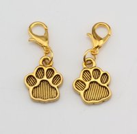 Wholesale print antique - Hot ! 150pcs Antique gold Paw Print Charm Dangle Bead with Lobster clasp Fit Charm Bracelet 11 x 29 mm DIY Jewelry
