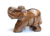 Wholesale Elephant Tiger - 2.0 INCHES Natural Tiger Eye Stone Carved Crystal Reiki Healing Elephant Statue with a Velvet Pouch