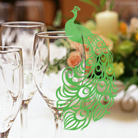Wholesale Peacock Place Cards - Newest Design Peacock Laser Cut Wedding Place Cards For Wine Glass Wedding Party Decoration 120 pcs in a Lot