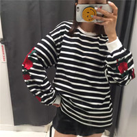 Wholesale Girls Loose Tops - 2018 Autumn Hoodies Roses Embroidery Lantern Sleeve Loose Striped Women Sweatshirt Girl Vintage Elegant Casual Tops