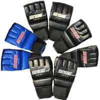 Wholesale Muay Thai Leather Gloves - New PU Leather MMA Half Mitts Mitten Boxing Gloves Muay Thai Training Kick Gloves Boxing Protective Gear Gloves