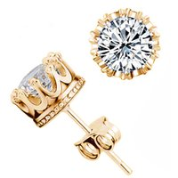 Wholesale Gold Carats - VALEN BELA Fashion Crown 18k Gold Plated Jewelry 6mm 2 Carat AAA Cubic Zirconia Small Stud Earrings for Women ED2699