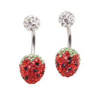 Wholesale Crystal Ball Belly Wholesale - Ball Strawberry Crystal Navel Ring Stainless Steel Piercing Belly Button Ring Body Fashion Jewelry Summer Style Women