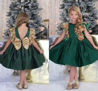 Wholesale Emerald Green Sashes - emerald Green Flower Girls Dresses With Bow Knot Sequins Backless Satin Girls Pageant Gowns Knee Length Sleeveless First Communion Wear