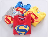 Wholesale Kids Superman Winter Coats - kids Autumn winter coat Superman printed Hoodies children's fashion cartoon sports clothes boys Clothing free shipping MOQ:30pcs SVS0447#