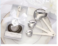 Wholesale Steel Measuring Spoons Set - 50 sets lot Love Wedding favors of Simply Elegant Heart Shaped Stainless Steel measuring spoon in White Gift Box Free shipping