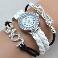 unendlichkeit diamant liebe armband großhandel-Unendlichkeit Armband Uhr Mode Armband Uhren Diamanten Liebe Leder Armbanduhren Frauen Quarz Uhren Runde Fall Drop Freies Verschiffen