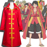 Новая ОДНА ЧАСТЬ Palgantong Monkey D Luffy Roronoa Zoro Cloak Unisex Cosplay Одежда Костюмы Red Marine Long Cloak Jacket / Coat