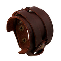 leather cuff wristband bracelet großhandel-Lederarmband 22.5 * 4.5 cm Braun Schwarz Ledermanschette / Lederarmband / Lederarmband Breite Armbänder Mann Handgelenk Armband Manschette Armband
