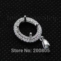 Wholesale Oval Diamond Pendant Semi Mount - Wholesale-Vintage Oval 7x9mm Solid 18Kt White Gold Diamond Semi Mount Pendant WP025