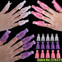 unhas de acrílico venda por atacado-10 Pçs / lote Plástico Acrílico Nail Art Soak Off Cap Cap Gel UV Polonês Removedor Envoltório Ferramenta