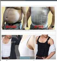 Wholesale Slim Body Shapers Men - Free shipping Slimming Vest Top for MEN MEN's Shirt Body Shapers white black (Size S- XL)