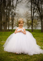 Wholesale Cheap Toddlers Tutu Dresses - White Ball Gown Cheap Flower Girl's Dresses For wedding Little Kids Floor Length Cute Little girls Tutu pageant Gowns for Communion Dress