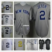 Wholesale Mens Shirts China - 30 Teams- 2015 New York #2 Derek Jeter Jersey Classic Stripe Shirts NY Mens Baseball Embroidery Vintage China Authentic Aimee Smith Store