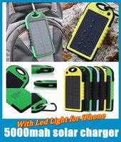 Wholesale Wholesale Solar Mobile Charger - 5000mAh Dual USB Port Solar Charger External Battery Power Bank With Retail Box For iPhone iPad Mobile Phone Smartphone oth013