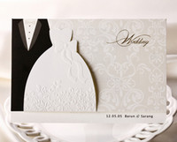Wholesale wedding dress invitations - Personalized Wedding Invitations Cards Traditional Tuxedo Dress Bride & Groom Design DIY Wedding Invitations Cards With Blank Page Printable