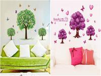 duvar ağacı kelebek toptan satış-DHL EMS duvar çıkartmaları ağaç kreş Mix Sipariş Çıkarılabilir PVC kelebek çiçek duvar çıkartmaları ev dekor bebekler duvar çıkartmaları duvar kağıdı duvar sanatı