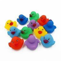 Wholesale Funny Baby Sounds - 12pcs lot Kawaii Mini Colorful Rubber Float Squeaky Sound Duck Bath Toy Baby Bathroom Water Pool Funny Toys for Girls Boys Gifts
