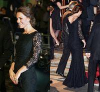 Wholesale Evening Dresses Kate Middleton - Black Lace Crew Neck Long Evening Dresses 2015 New Style Kate Middleton Formal Evening Gowns Sheer Lace Long Sleeves Celebrity Dress