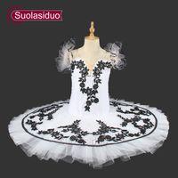 kuğular çiçekler toptan satış-Beyaz Kuğu Gölü Bale Tutu Gözleme Kadın Çiçekler Profesyonel Tutuş Bale Sahne Performansı Kostümleri Giyim Giyim SD0016