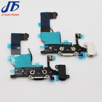 Wholesale Dock Connector Port Iphone Parts - For iphone 5g 5c 5s High quality Replacement parts Headphone Audio Dock charger flex Charging USB Port Connector Ribbon Flex Free Shipping