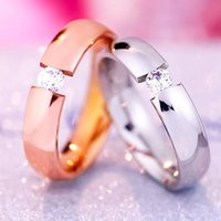 Wholesale Couples Rings Japan - Japan and South Korea 18 k rose gold with a single crystal couple female male and female tail ring finger ring titanium rings for women