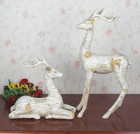 Wholesale Continental Porcelain - Porcelain Reindeer Christmas Decoration Continental resin ornaments crafts bark lines couple deer home accessories standing