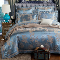 Wholesale Silk Beddings - Wholesale-2015 Home Textile bedding light Blue luxury silk Jacquard designer's beddings set wedding bed sheet duvet cover set