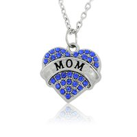 Wholesale Crystal Love Sweaters - Rhodium Plated Pink Blue Clear Crystal Mom Heart Pendant Charm Women Sweater Necklace DIY Handmade Jewelry