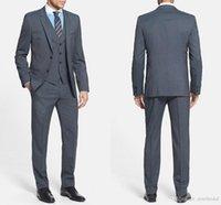 Wholesale Wedding Suit Grey Waistcoat - Dark Grey Wedding Suits 2017 Extra Trim Fit Three Pieces Tuxedos Two Buttons Custom Made Groom Groomsmen Tuxedos (Jacket+Pants+Waistcoat